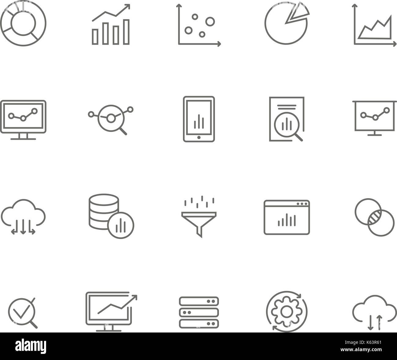 Set of 20 data analysis thin line icons  Charts, graphs