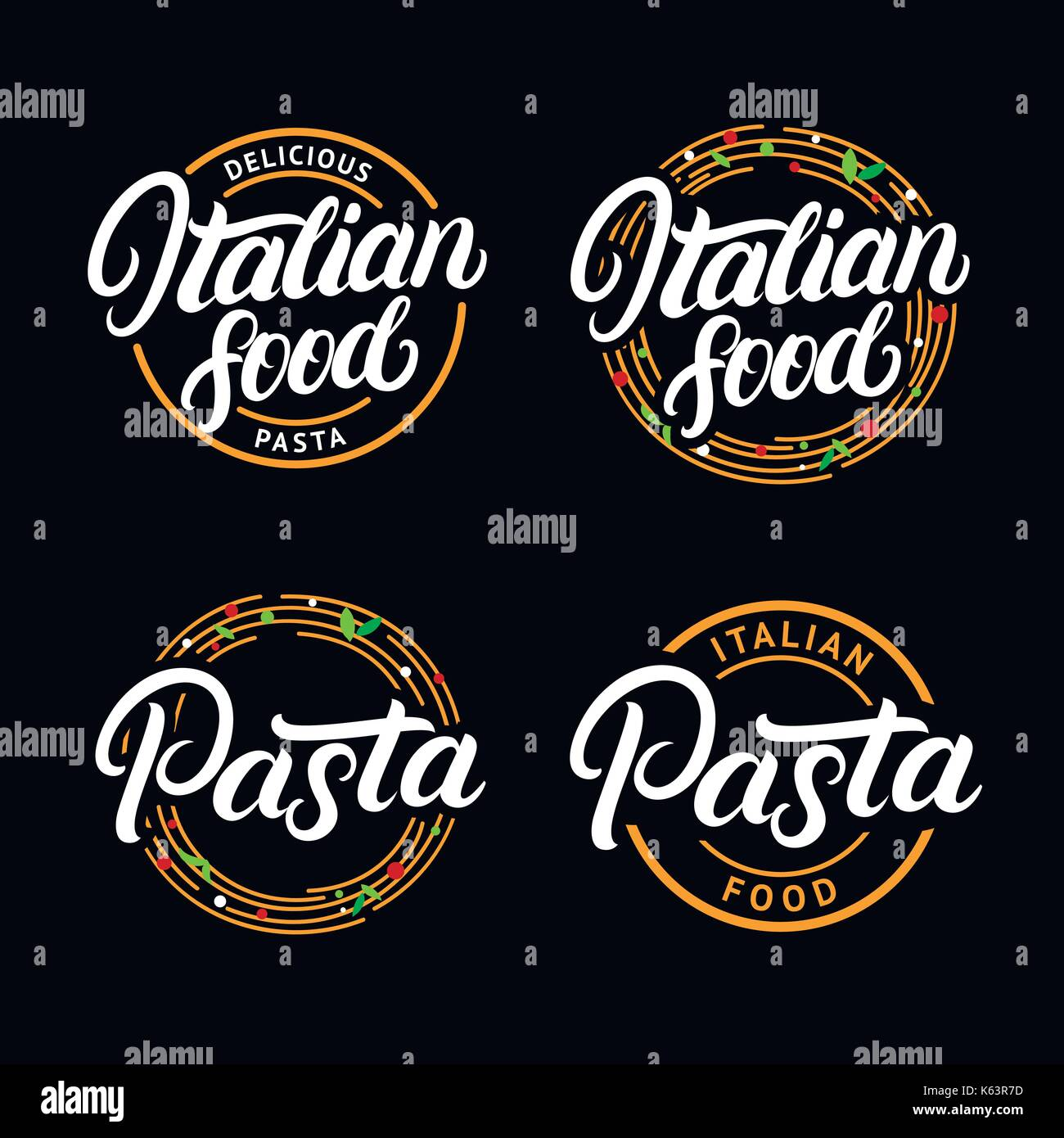 Set Of Italian Food And Pasta Hand Written Lettering Logo