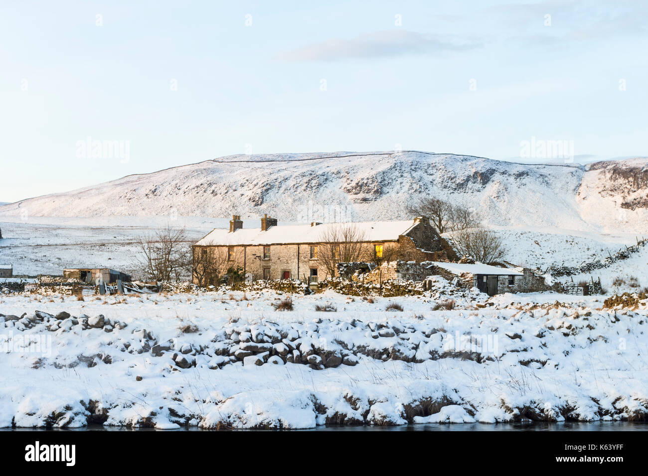 The Abandoned Farmstead of Wheysike House with Cronkley Fell Behind, Forest-in-Teesdale, County Durham UK - Stock Image