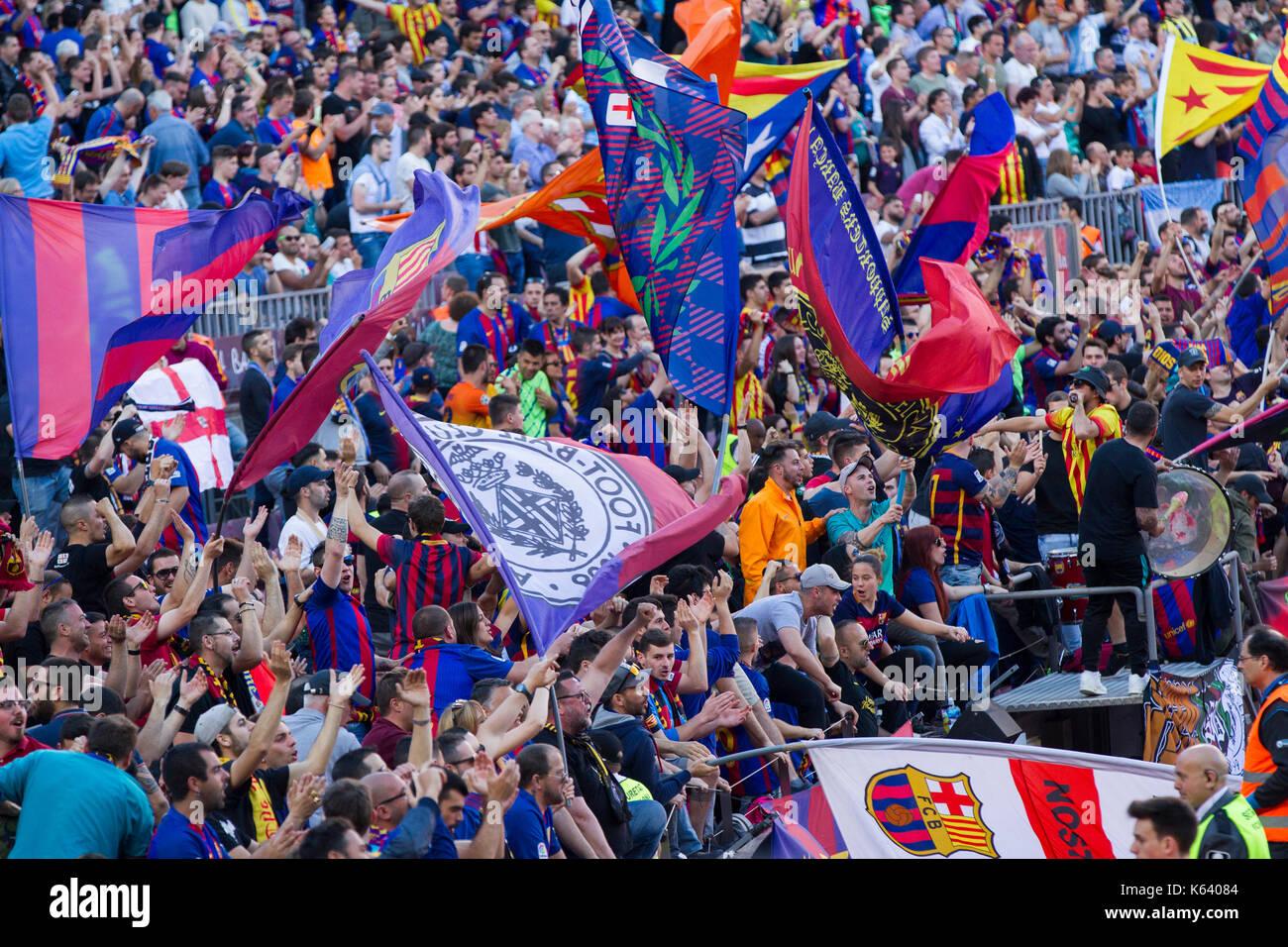 Barcelona fans and supporters celebrating goal scored - 6/5/17 Barcelona v Villarreal football league match at the Camp Nou stadium, Barcelona. - Stock Image