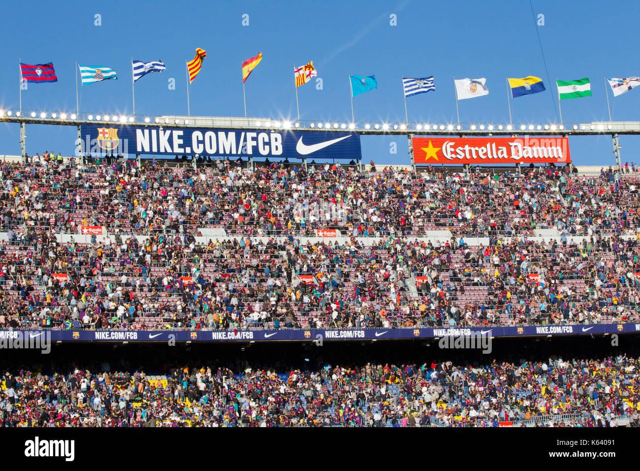 6/5/17 Barcelona v Villarreal football league match at the Camp Nou stadium, Barcelona. - Stock Image