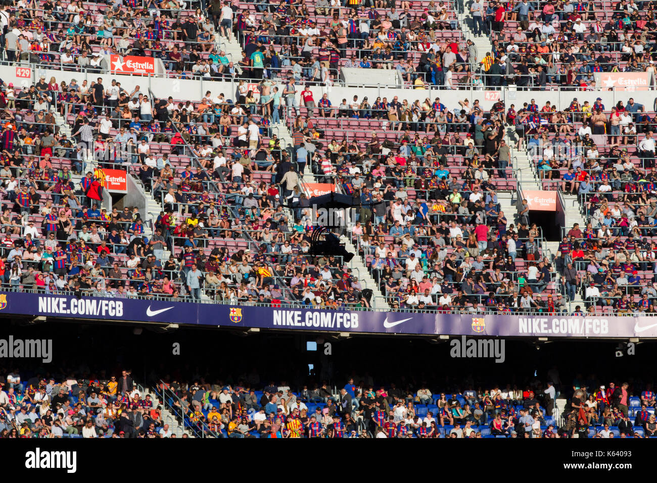 Crowds of supporters and fans - 6/5/17 Barcelona v Villarreal football league match at the Camp Nou stadium, Barcelona. - Stock Image