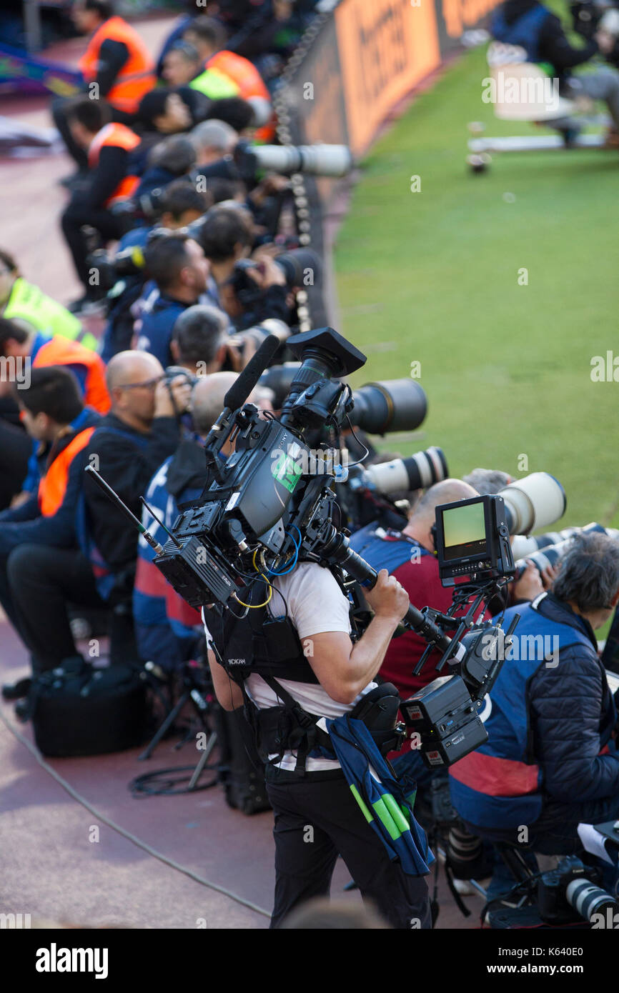 Press photographers and media pitched - 6/5/17 Barcelona v Villarreal football league match at the Camp Nou stadium, Barcelona. - Stock Image