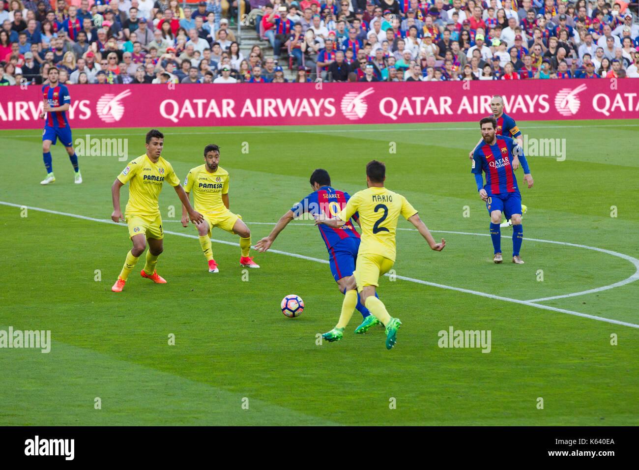 Luis Suarez in possession of ball - 6/5/17 Barcelona v Villarreal football league match at the Camp Nou stadium, Barcelona. - Stock Image