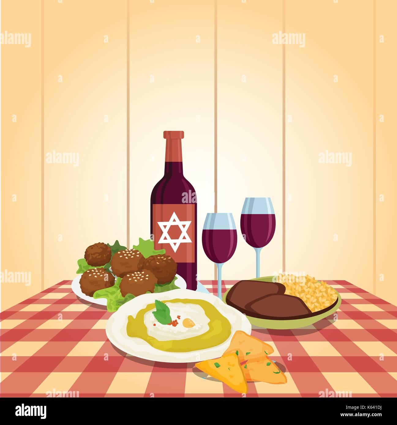 Kabbalat Shabbat, family night meal, colorful vector cartoon - Stock Vector