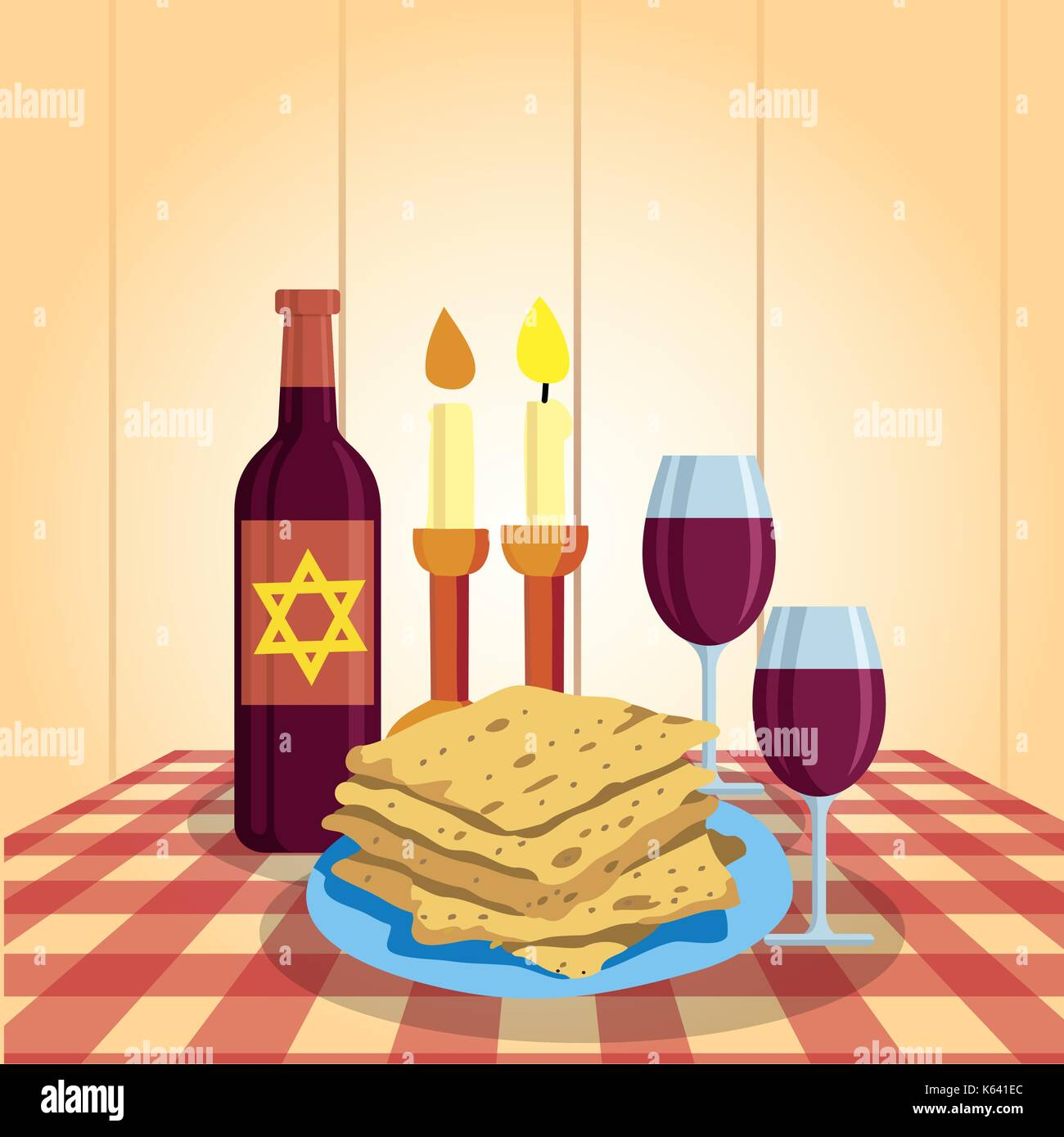 Shabbat shalom. Candles, kiddush cup and matzo. Religious traditions. - Stock Vector