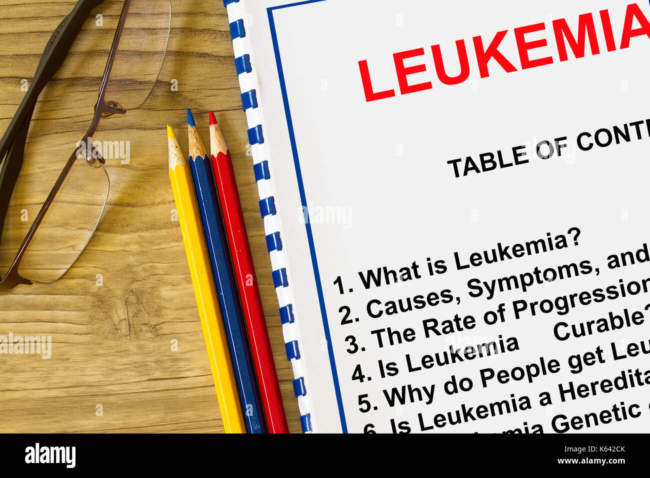 What is leukemia concept- with subjects on a cover sheet of lecture. - Stock Image