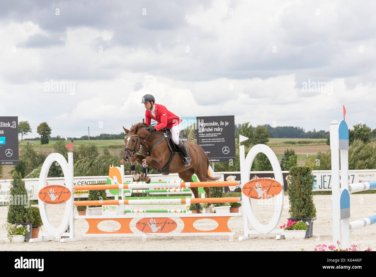 Male rider at Czech Equestrian Masters 2017, held in The Czech Republic, Europe. Photo for personal and editorial use only - Stock Image