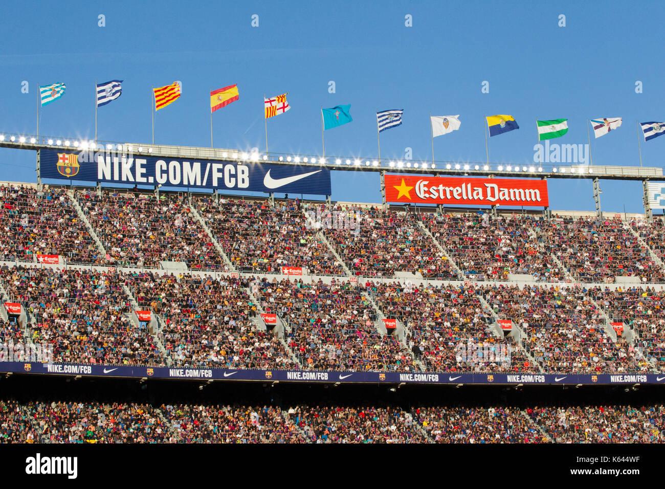 Fans at the Camp Nou stadium, Barcelona - 6/5/17 Barcelona v Villarreal football league match. - Stock Image