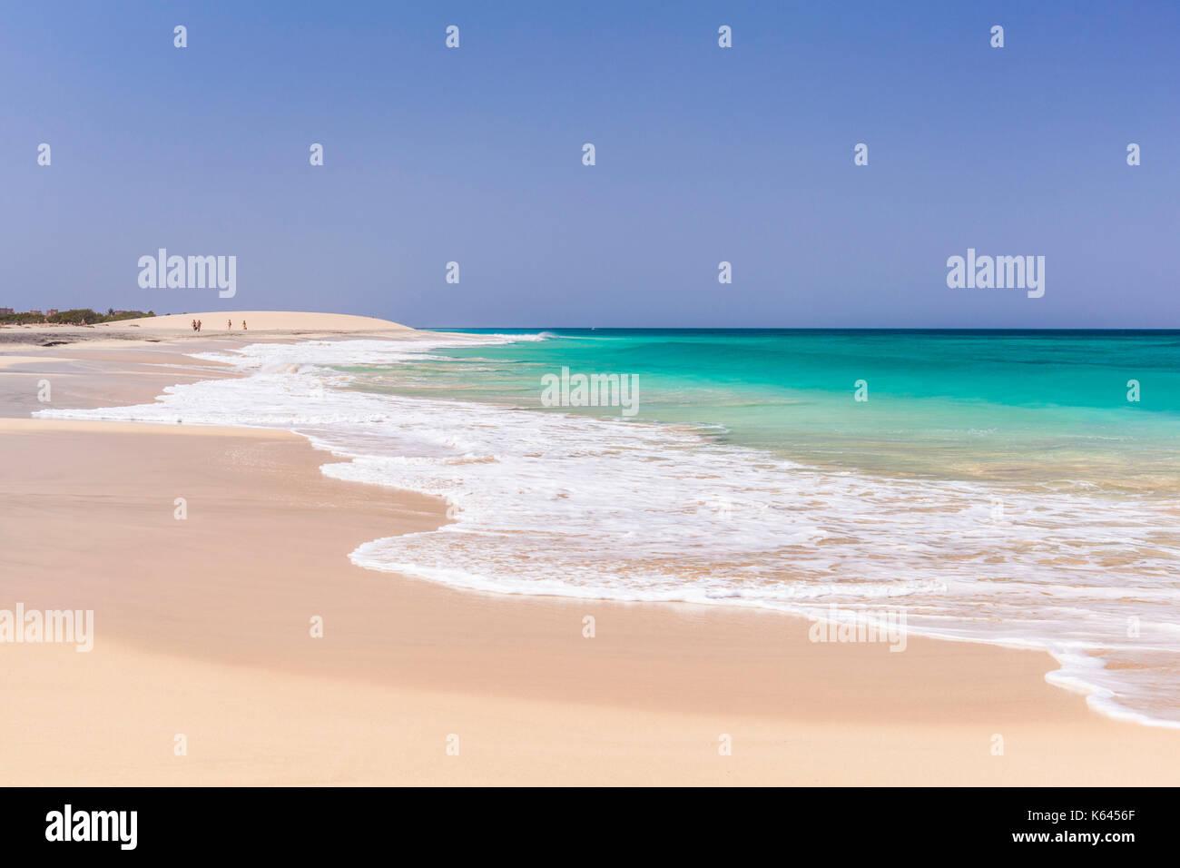 CAPE VERDE SAL Empty beach scene -  the emptiness of the white sand and blue sea at Ponta Preta beach near santa Stock Photo