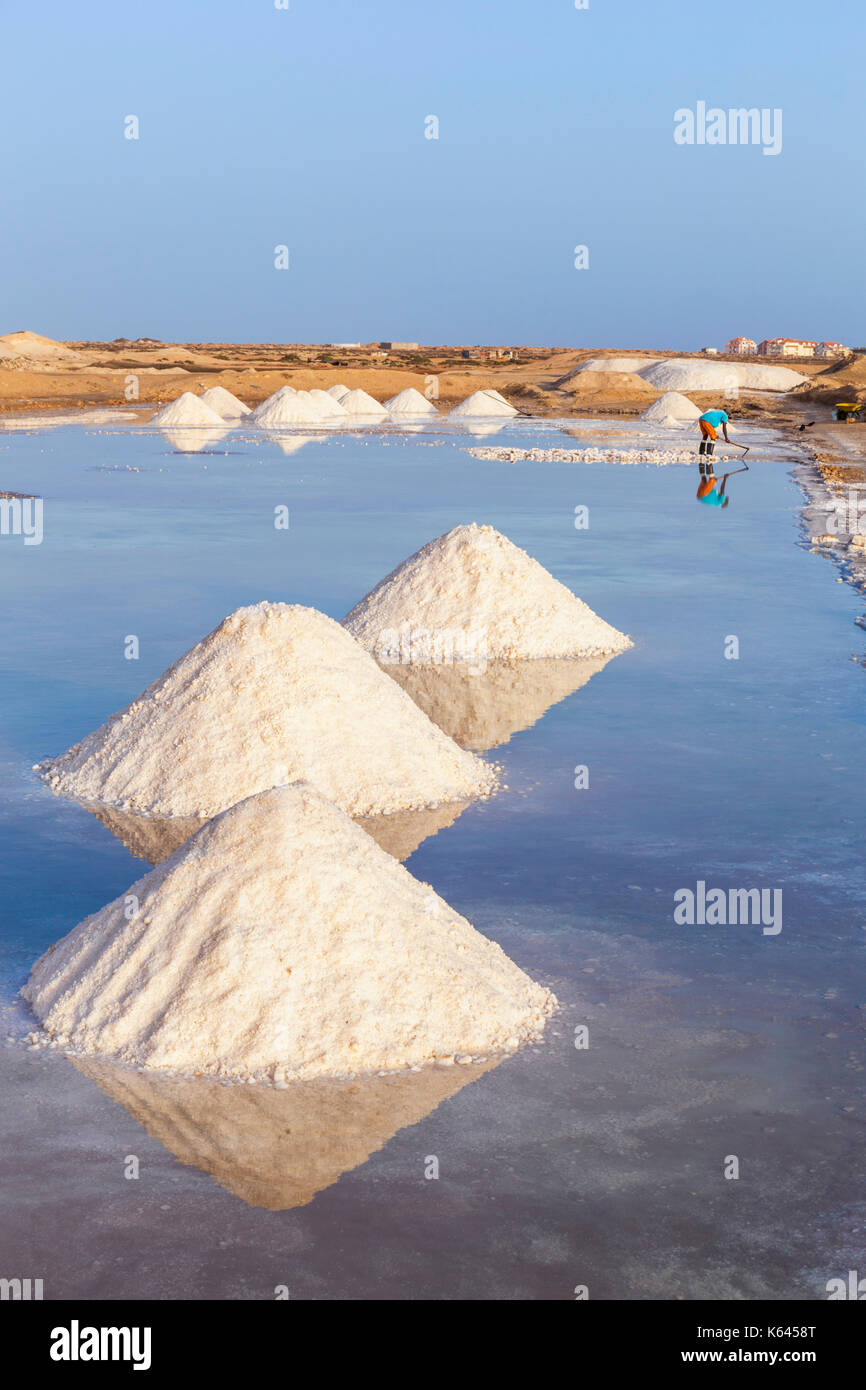 CAPE VERDE SAL Piles of salt collected from natural salt pans at Salinas, just outside Santa Maria, Sal island, Cape Verde, Africa - Stock Image