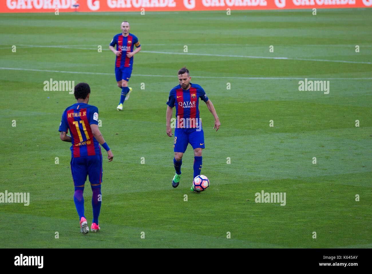 6/5/17 Barcelona v Villarreal football league match at the Camp Nou stadium, Barcelona. Jordi Alba attacking with ball. - Stock Image