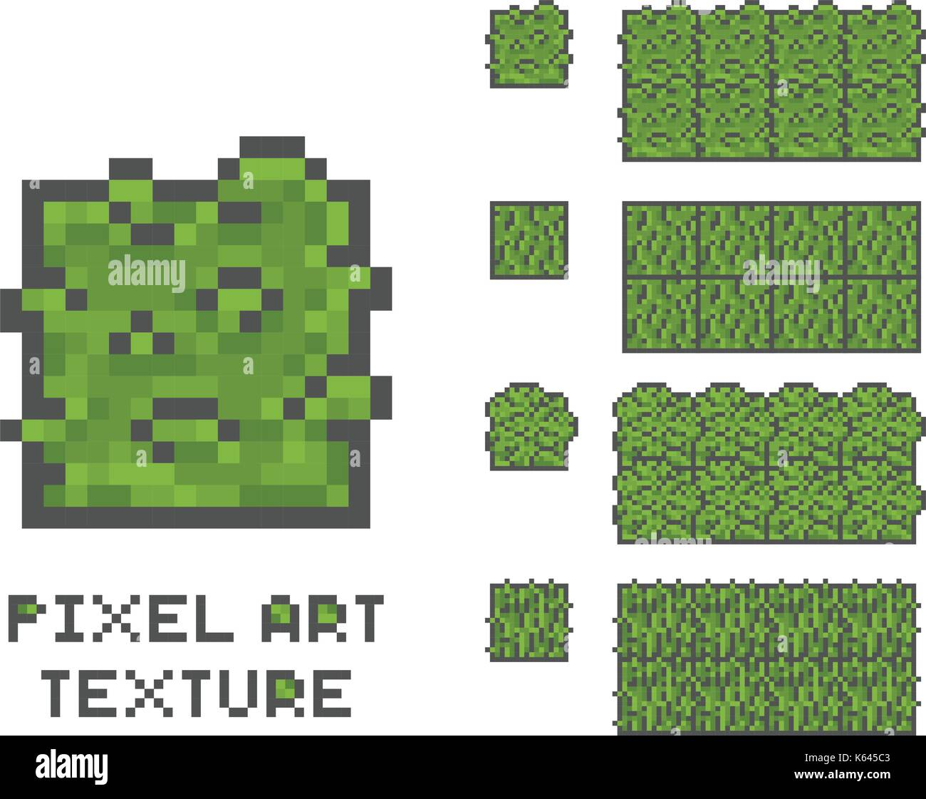 seamless grass texture game. Pixel Art 8 Bit Game Sprite Illustration. Green Grass Tree Pixelated Pattern, Seamless Texture