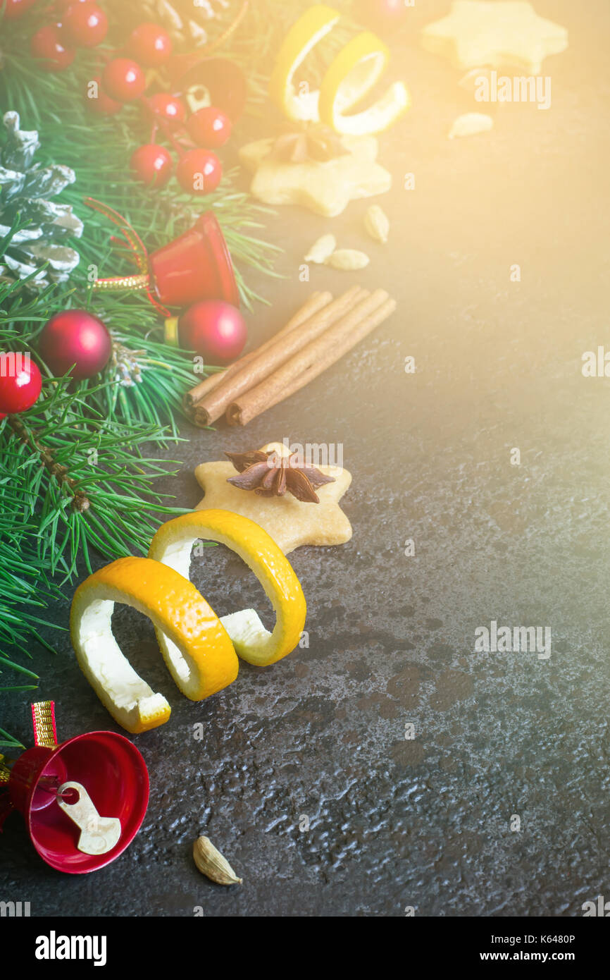 Christmas Background Border Of Fir Branches And Christmas Toys And