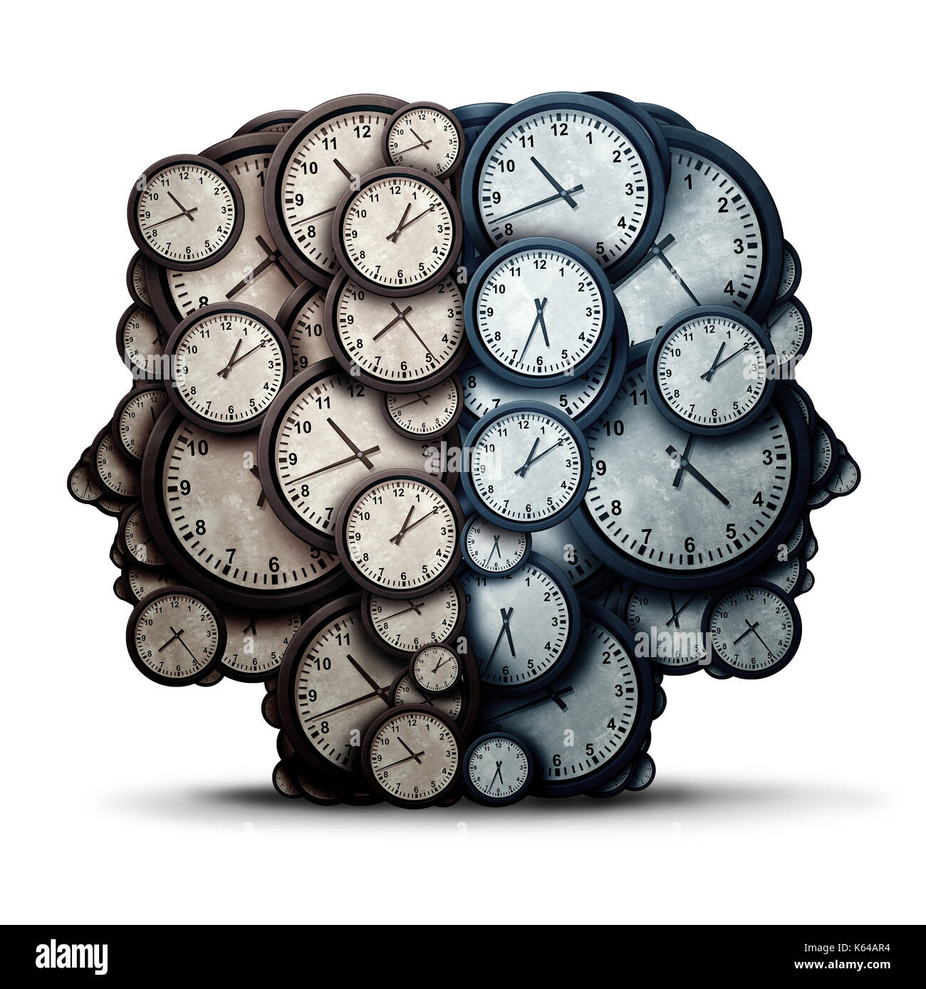 Thinking time meeting concept as a group of clock objects shaped as two human heads as a business punctuality and appointment cooperation. - Stock Image