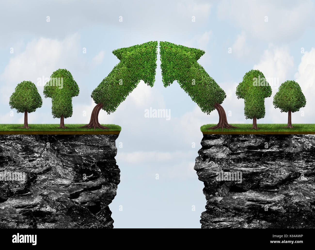 Business growth meeting and world trade or global economic growth concept as a financial and international finance success as growing arrow. - Stock Image