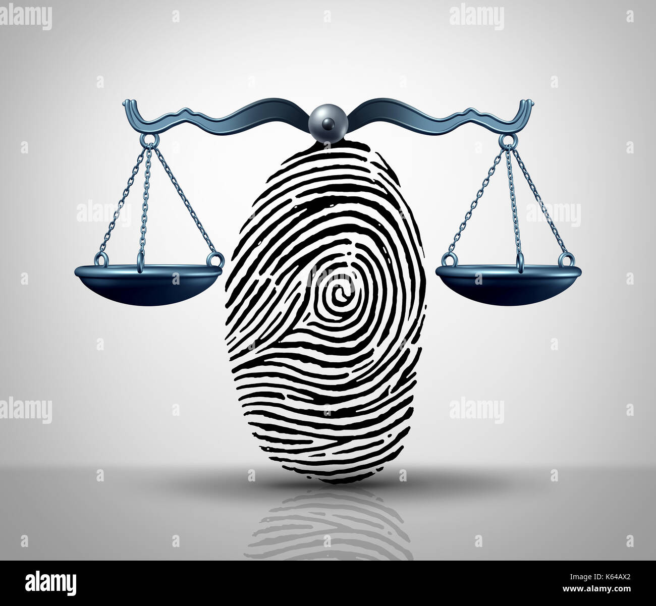Identity law justice concept as a finger print or finger print shaped as a legal court scale as a lawyer or attorney services metaphor or hacking. - Stock Image