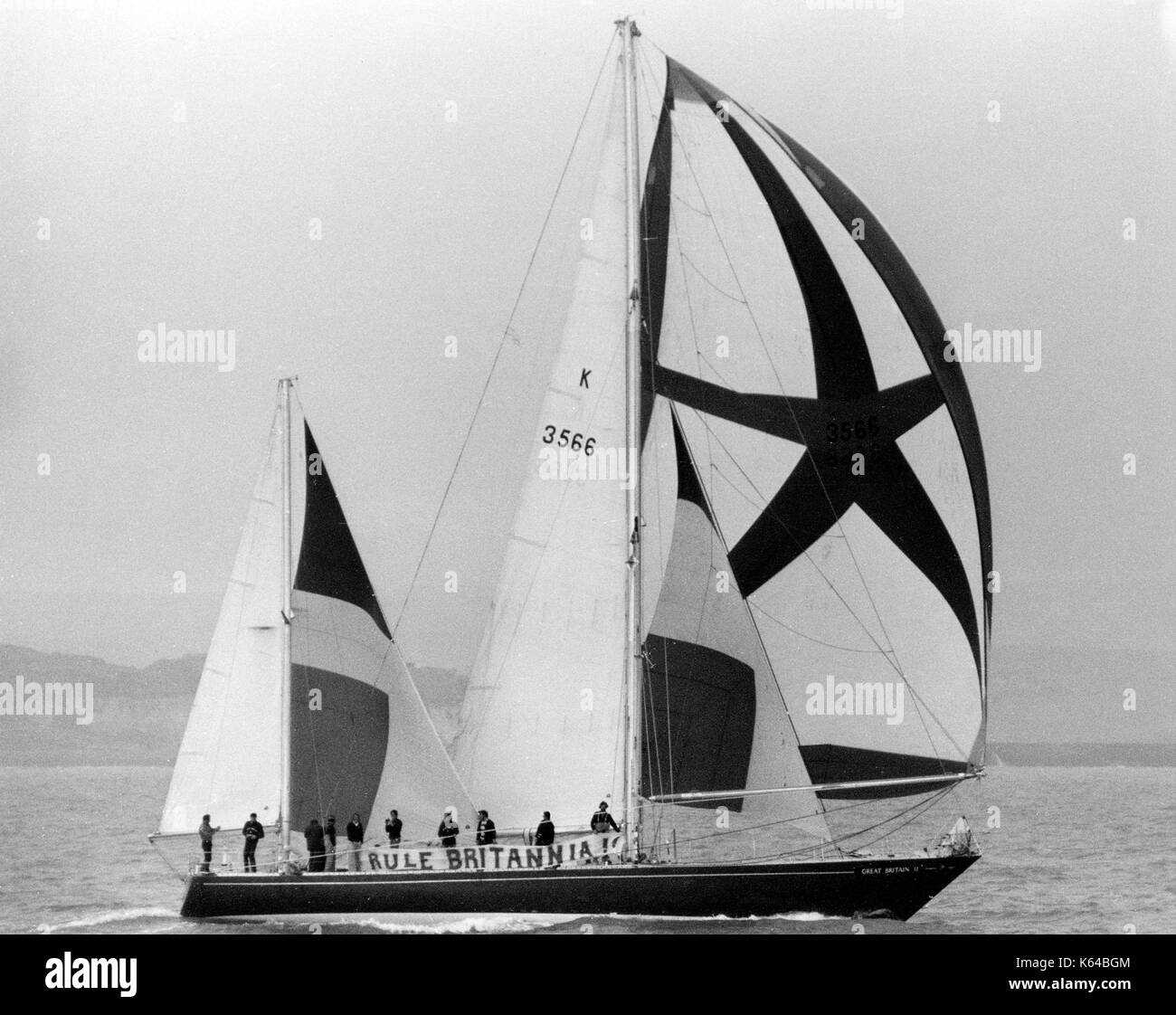 AJAXNETPHOTO. 1976. CHANNEL, ENGLAND. - FT CLIPPER RACE END - KETCH RIGGED GREAT BRITAIN II NEARING THE END OF THE FT CLIPPER RACE AS SHE SAILS UP CHANNEL TO THE THAMES; CREW DISPLAYING 'RULE BRITANNIA' BANNER.