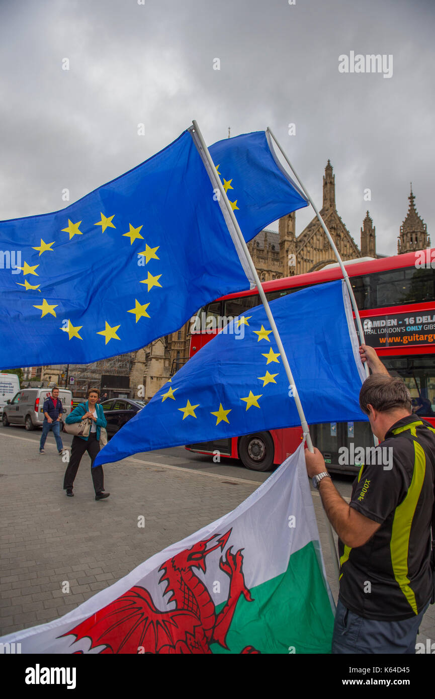 College Green, Westminster, London, UK. 11th Sep, 2017. Solitary Welsh pro-EU activist flies Wales and EU flags in gusty weather opposite the Houses of Parliament. Credit: Malcolm Park/Alamy Live News. - Stock Image
