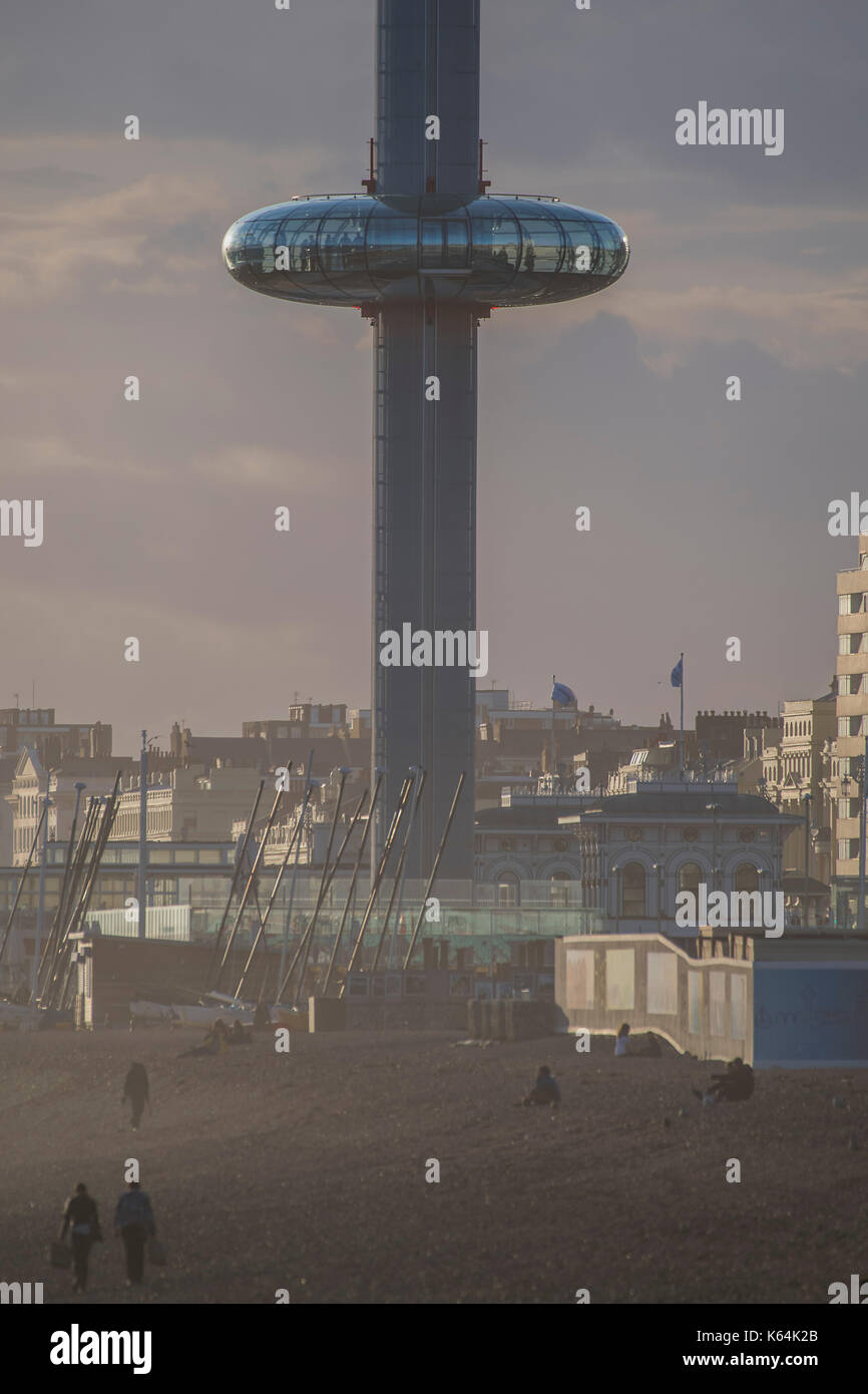 Brighton, UK. 11th Sep, 2017. UK Weather. The British Airways i360 makes one of its last trips of teh day - Dusk on a blustery evening on Brighton Beach. Credit: Guy Bell/Alamy Live News - Stock Image