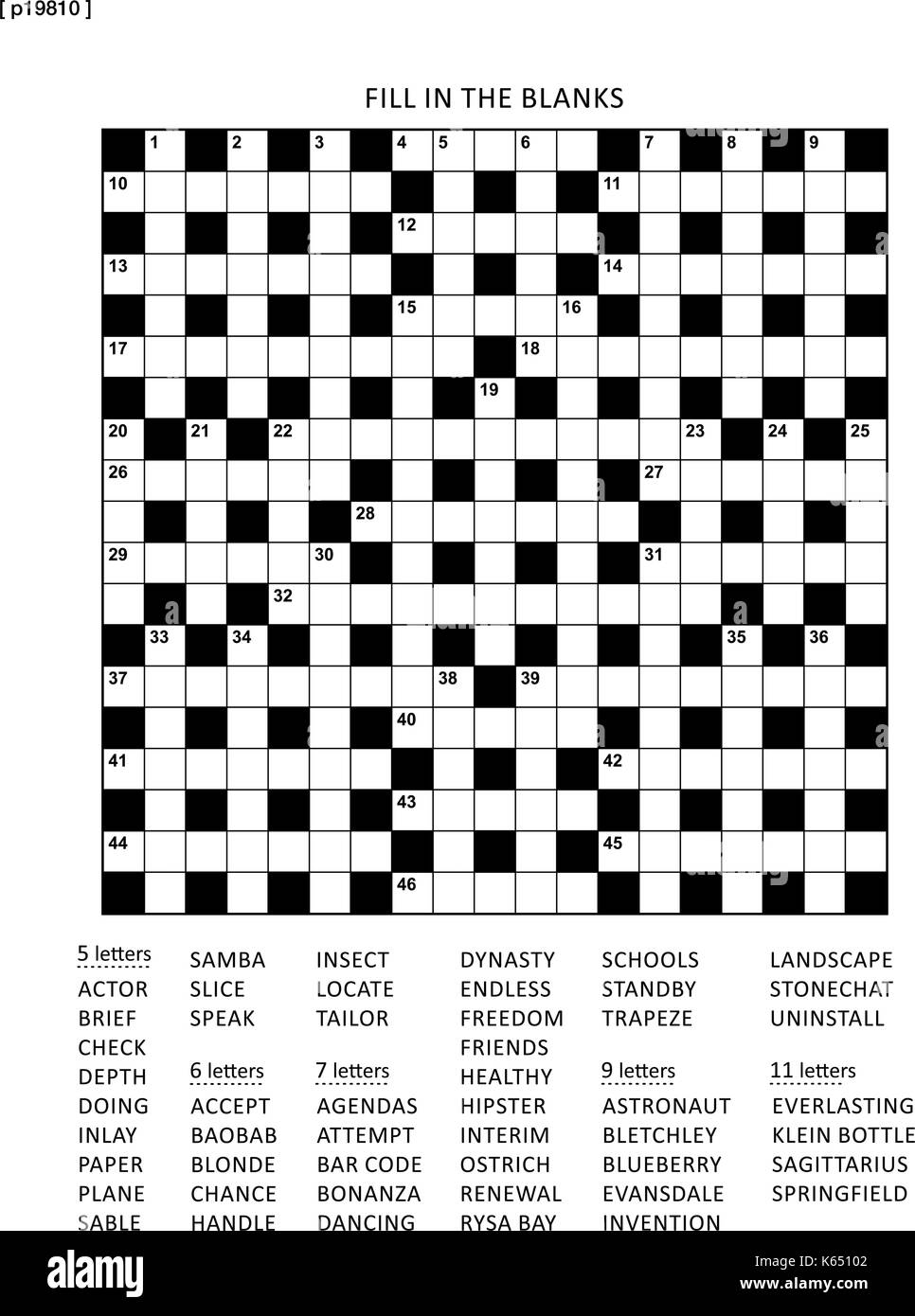 graphic relating to Fill It in Puzzles Printable called Puzzle web site with 19x19 criss-cross (or fill in just, else kriss