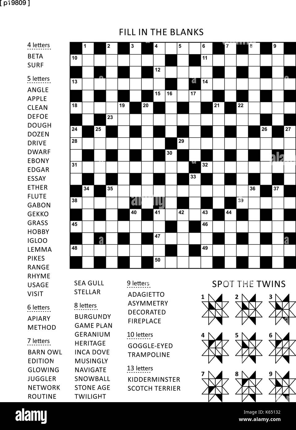 Puzzle Page With Two Puzzles 19x19 Criss Cross Word Game English Language And Abstract Visual