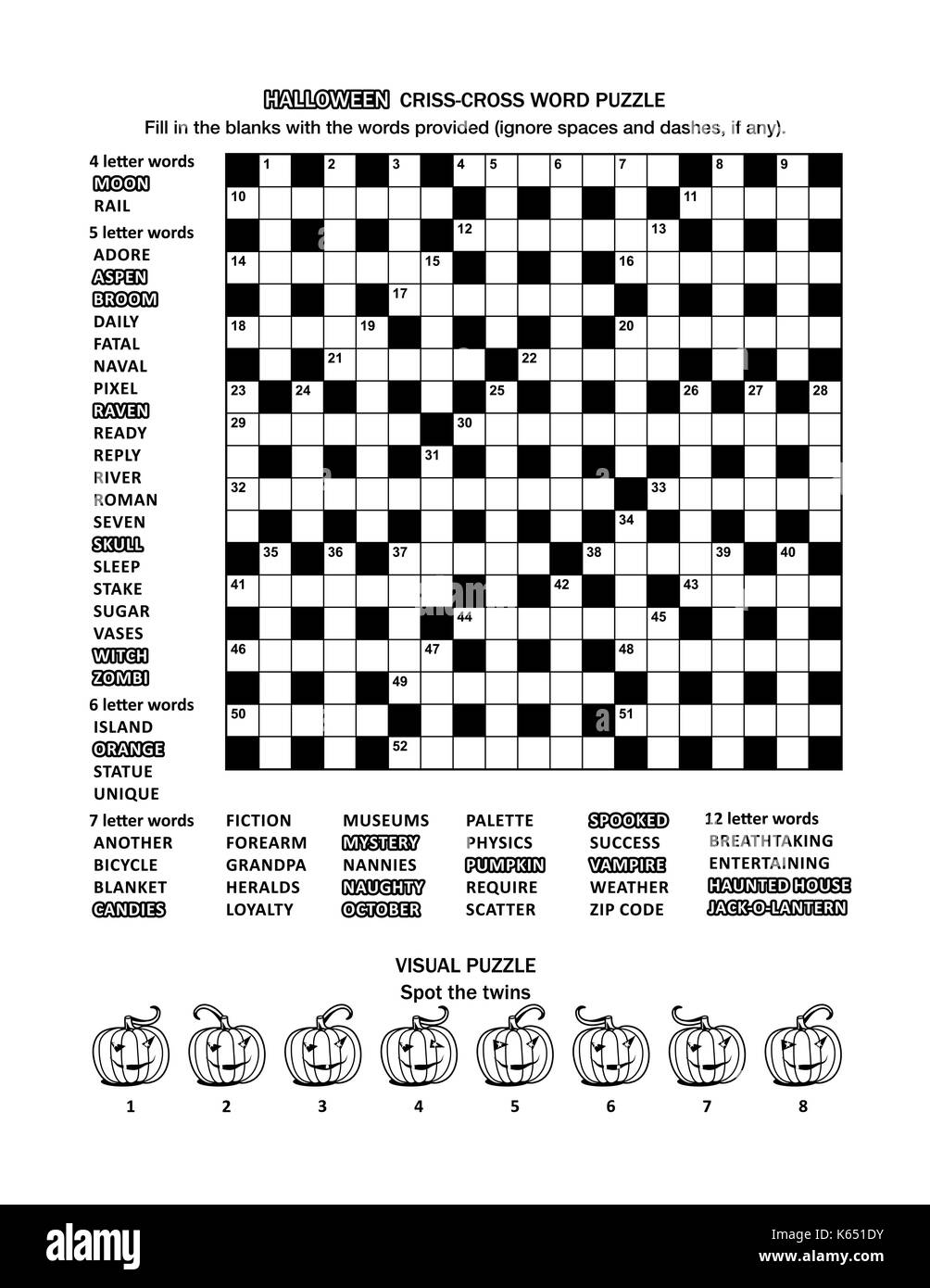 Halloween Themed Puzzle Page With 19x19 Criss Cross Word Game English Language And Visual Whimsical Pumpkins Black White