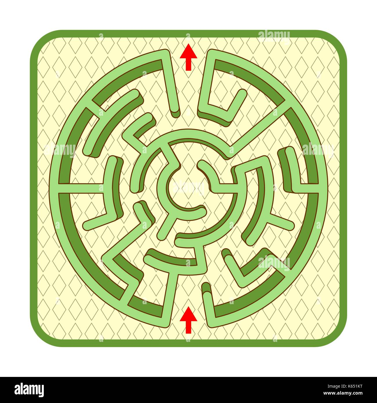 Abstract three-dimensional circle shaped hedge maze game template ...