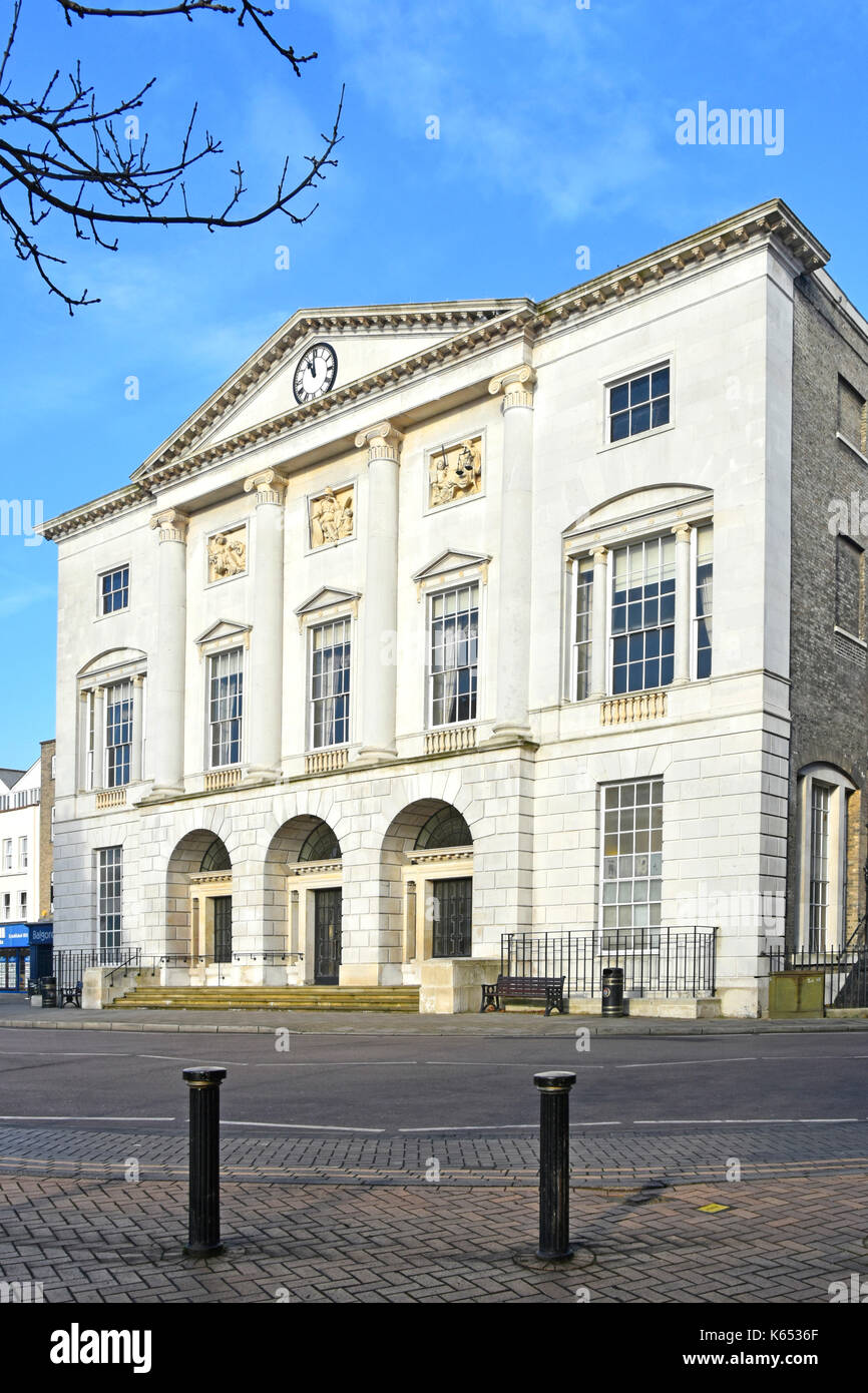 High Street UK Chelmsford Essex England Shire Hall Georgian architecture (former courthouse) after major refurbishment dominates top end High Street - Stock Image