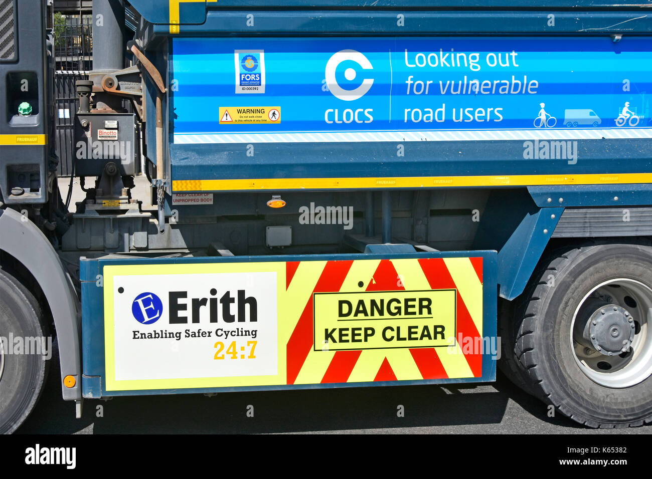 Tipper lorry truck company Erith promoting looking out for vulnerable road users after high profile accidents in London UK many involving cyclists - Stock Image