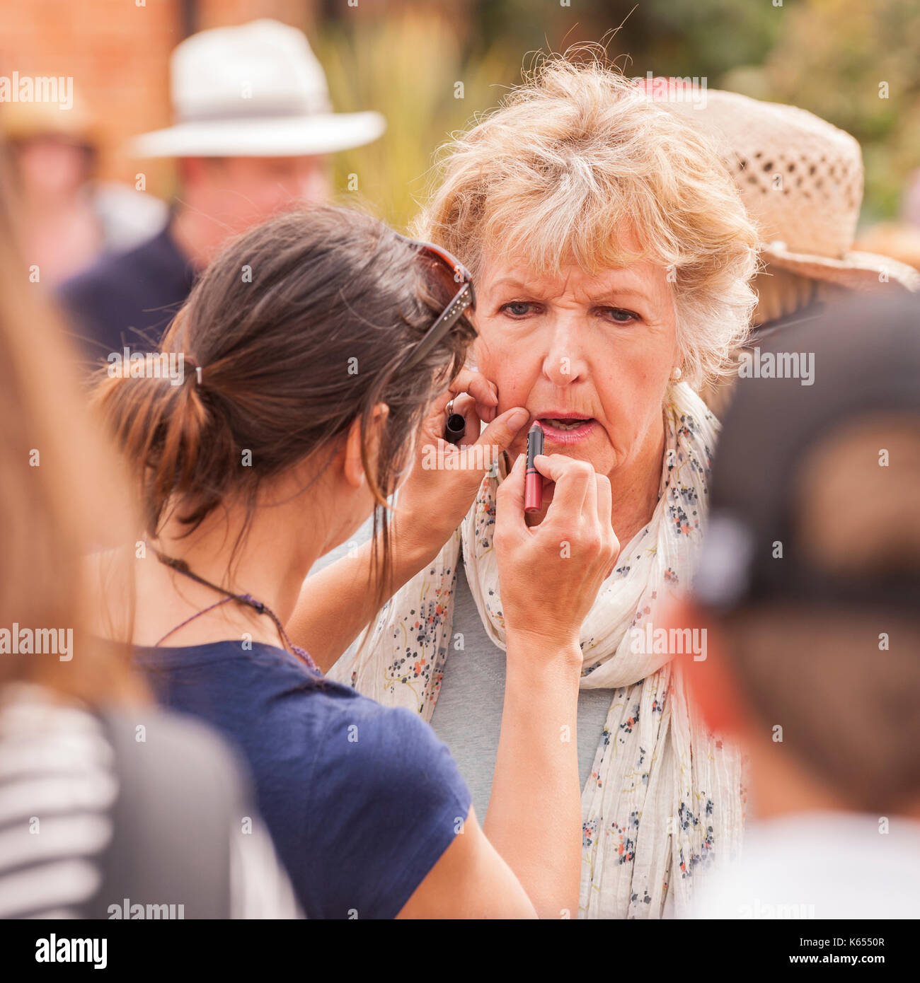Penelope Keith filming Hidden Villages at the village fete in Walberswick , Suffolk , England , Britain , Uk - Stock Image