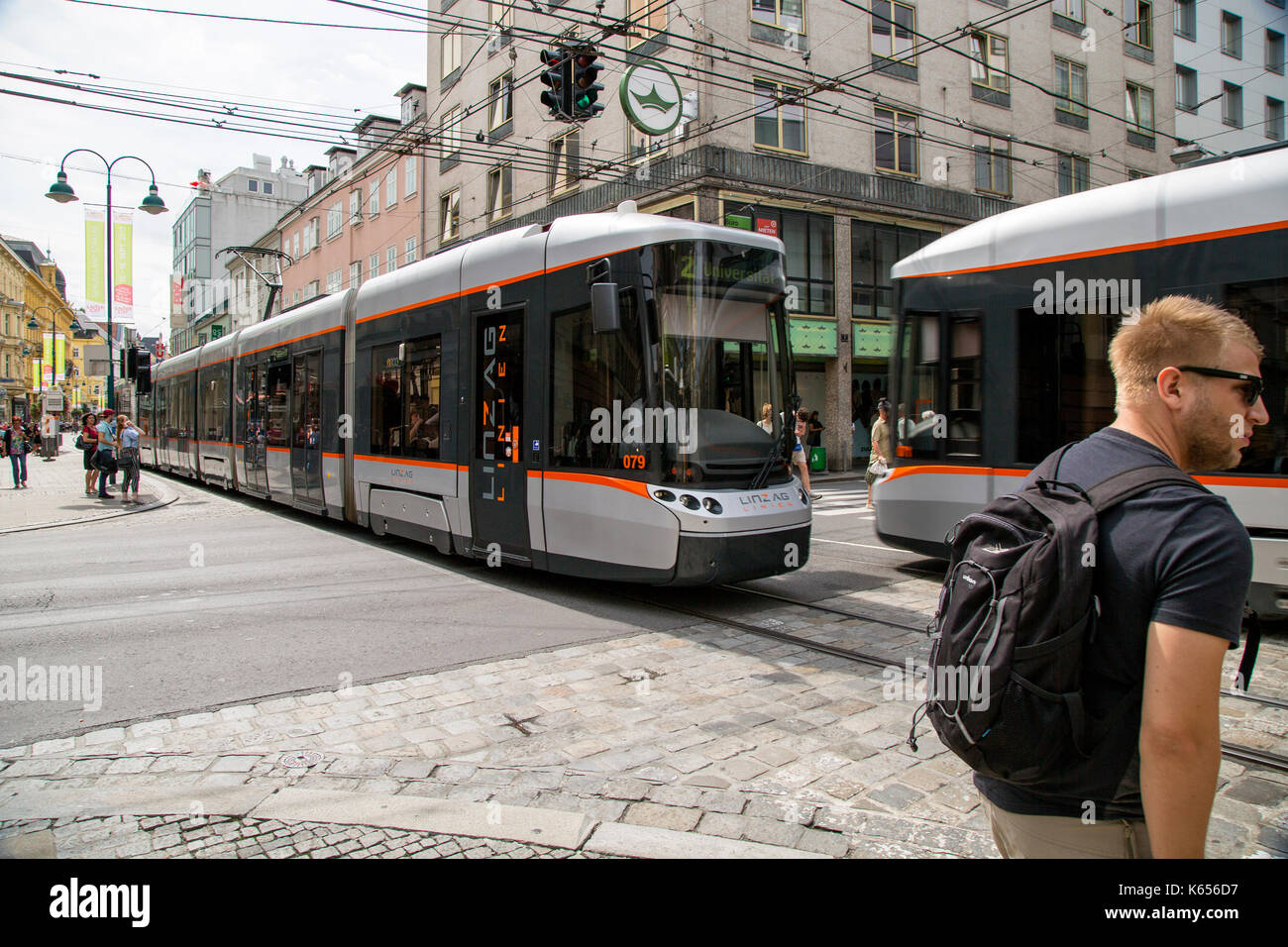 A tram passes through Linz, Czech Republic - Stock Image