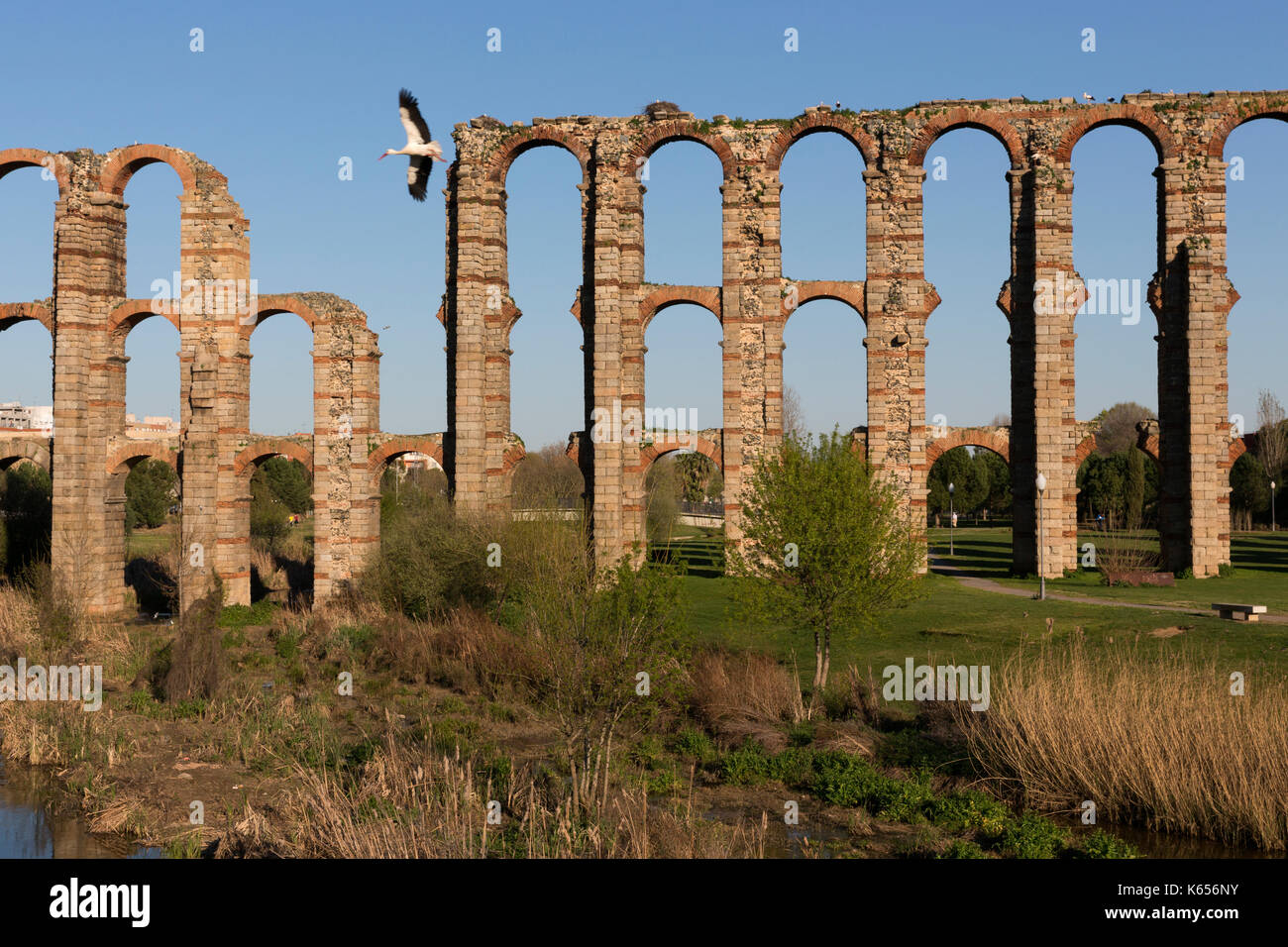 Aqueduct of the Miracles. Architecture of the Roman Empire. - Stock Image