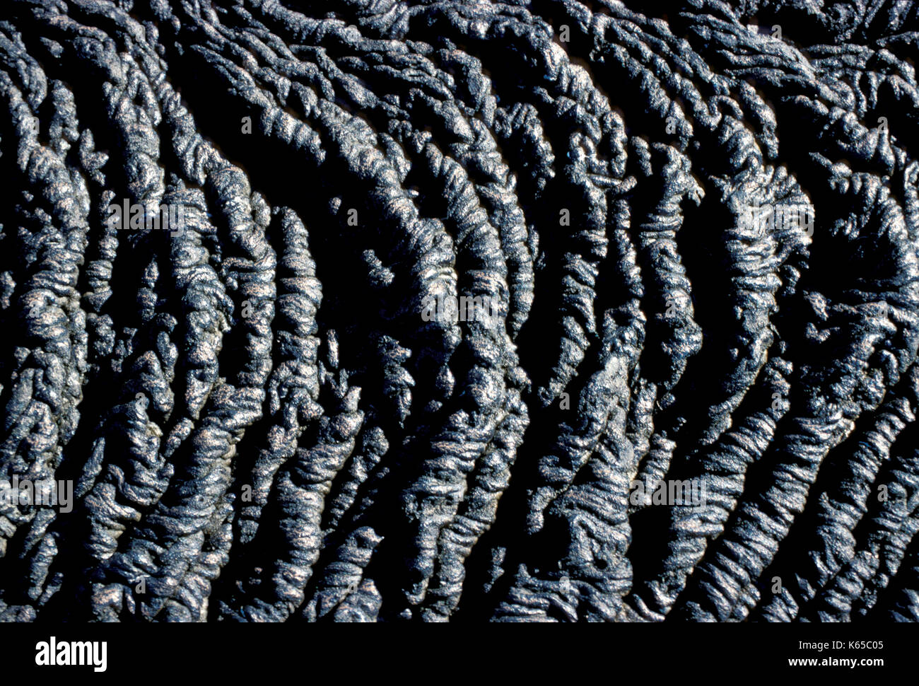 Close up detail of Pahoehoe Lava, Galapagos Islands, basaltic, ropy surface - Stock Image