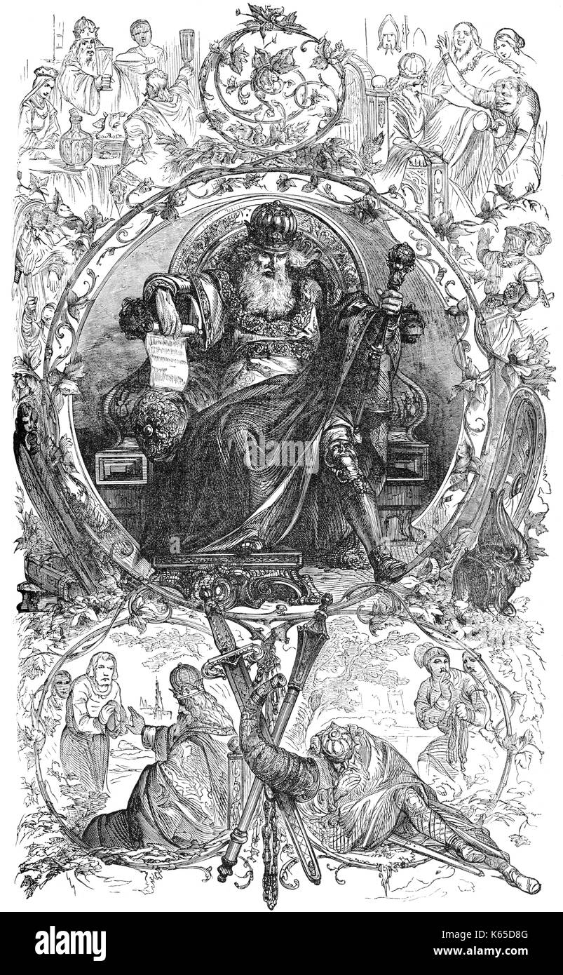 Charlemagne, Charles the Great or Carolus Magnus, 747-814, King of the Franks and Emperor of the Romans - Stock Image