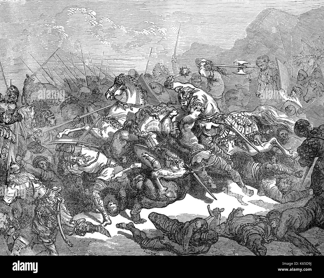 Charles Martel at the Battle of Tours or Poitiers, 10 October 732 Stock Photo