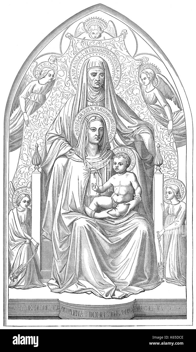 Saint Anne, the mother of Mary with child Jesus - Stock Image