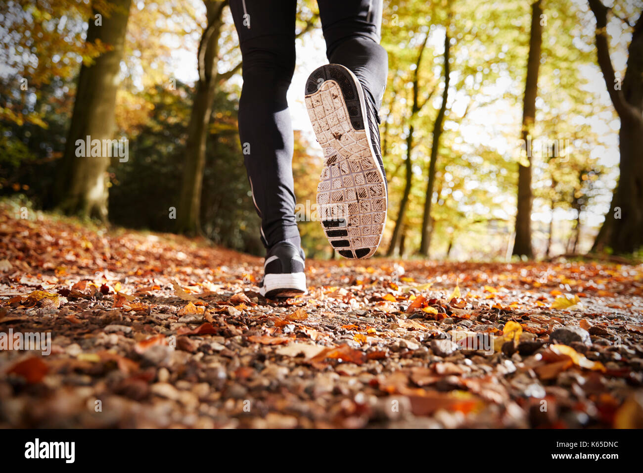 Close Up Of Male Runners Feet On Run Through Autumn Landscape - Stock Image