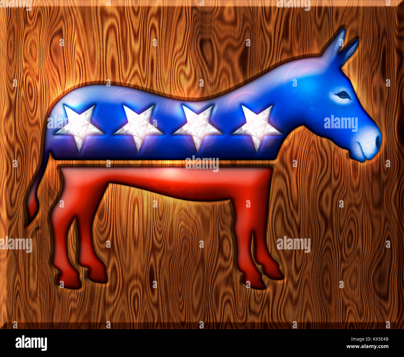 3D Democratic donkey symbol inlaid with diamond stars and embedded in a wooden base. - Stock Image