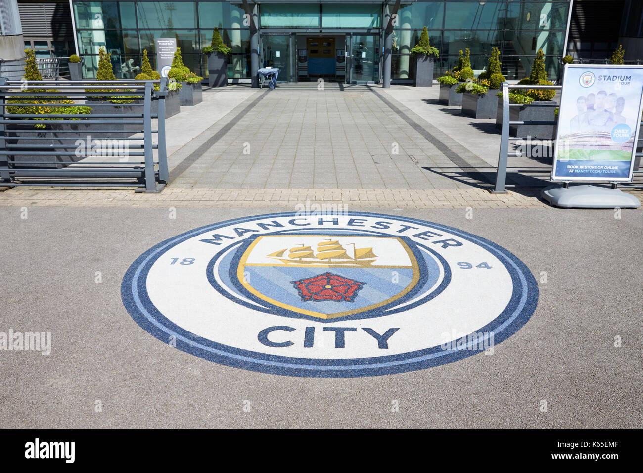 Manchester, UK - 4 May 2017: Club Badge Outside Manchester City Football Stadium - Stock Image