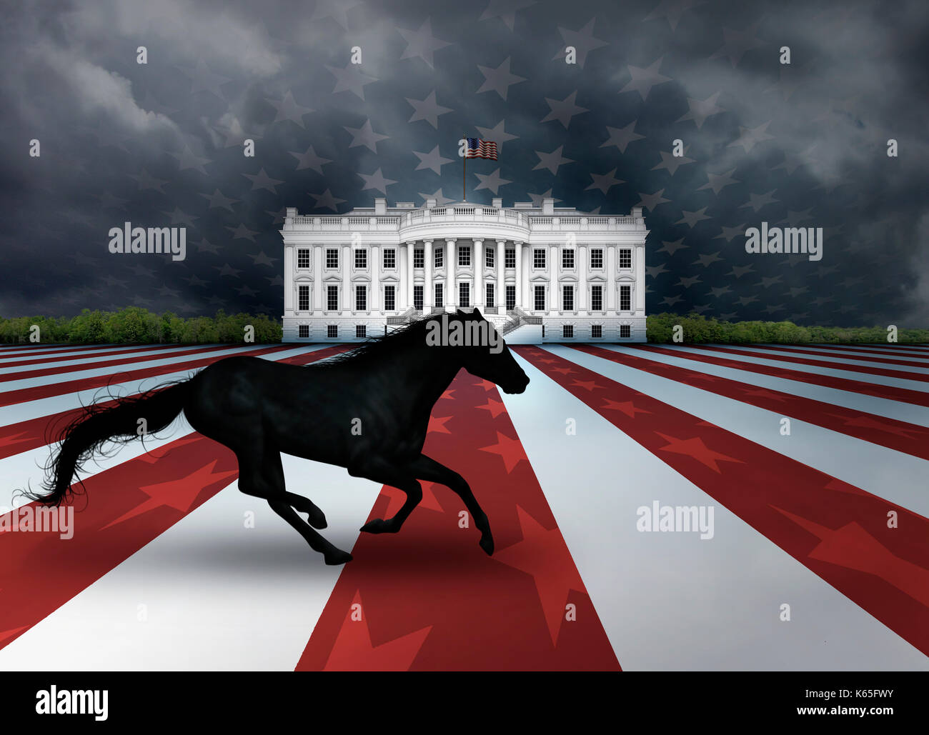 Digital Illustration Of The White House A Flag Design And A Dark Stock Photo Alamy