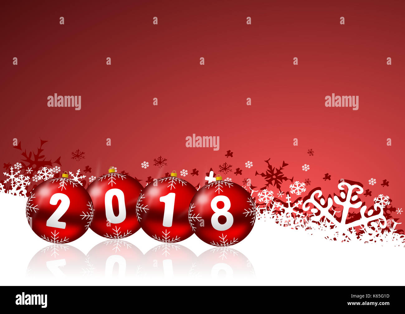 2018 new year background with christmas balls and snowflakes stock image