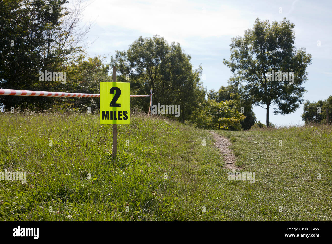 2 Miles to go for Race in Park - Stock Image