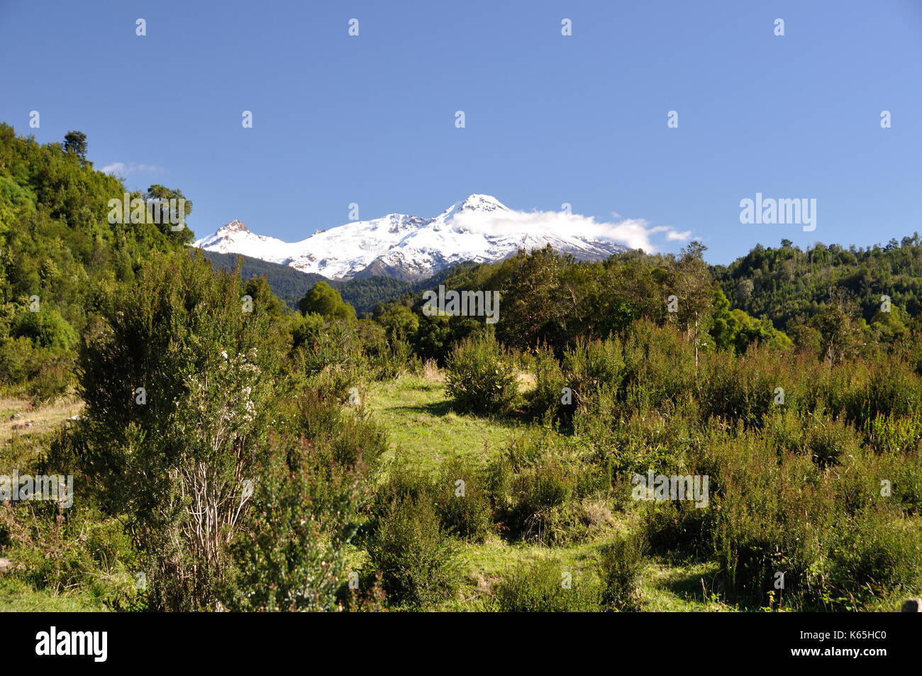 Yate volcano in Chile, Patagonia, seen on a road trip on Carretera Austral - Stock Image