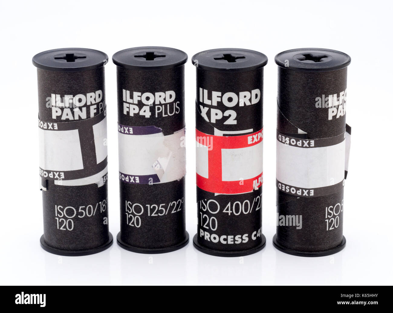 Rolls of Ilford 120 Medium Format Black and White Film, Ilford Photo is a UK photographic company founded in 1879. - Stock Image
