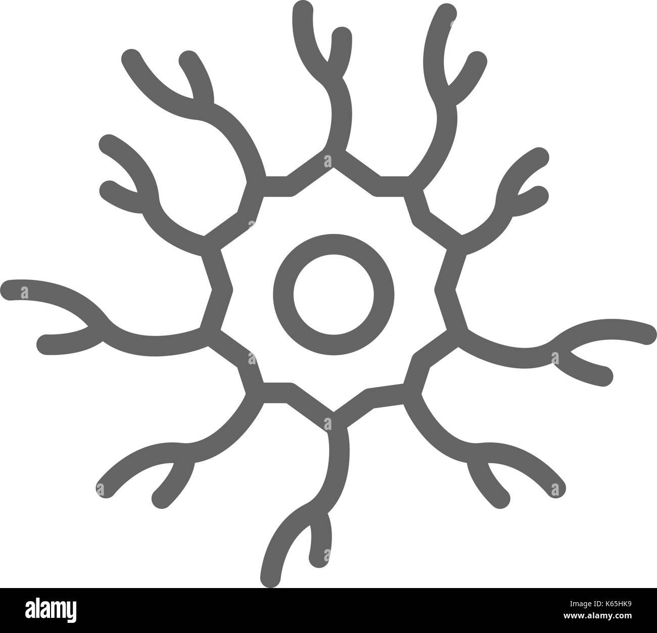 Simple neuron, nerve line icon. Symbol and sign vector illustration design. Editable Stroke. Isolated on white background - Stock Image