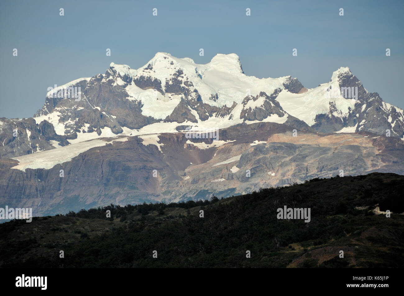 rarely seen and rarely climbed, Monte Balmaceda in the south of Chile´s Patagonia, near Torres del Paine national park - Stock Image