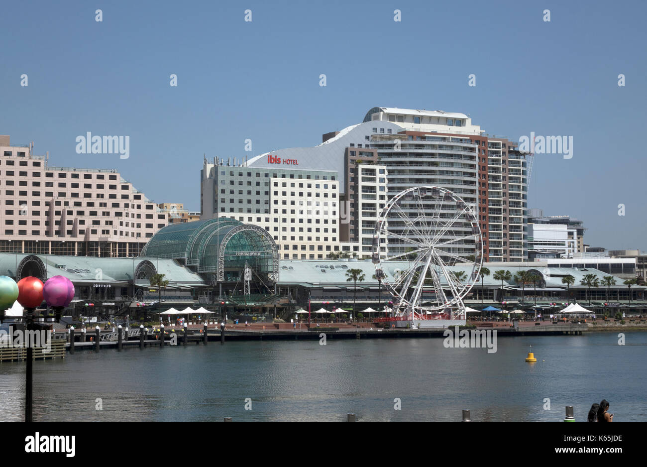 Looking Across Darling Harbour To Harbourside Shopping Centre, Ibis Hotel Murray St, Pyrmont, Sydney Australia - Stock Image