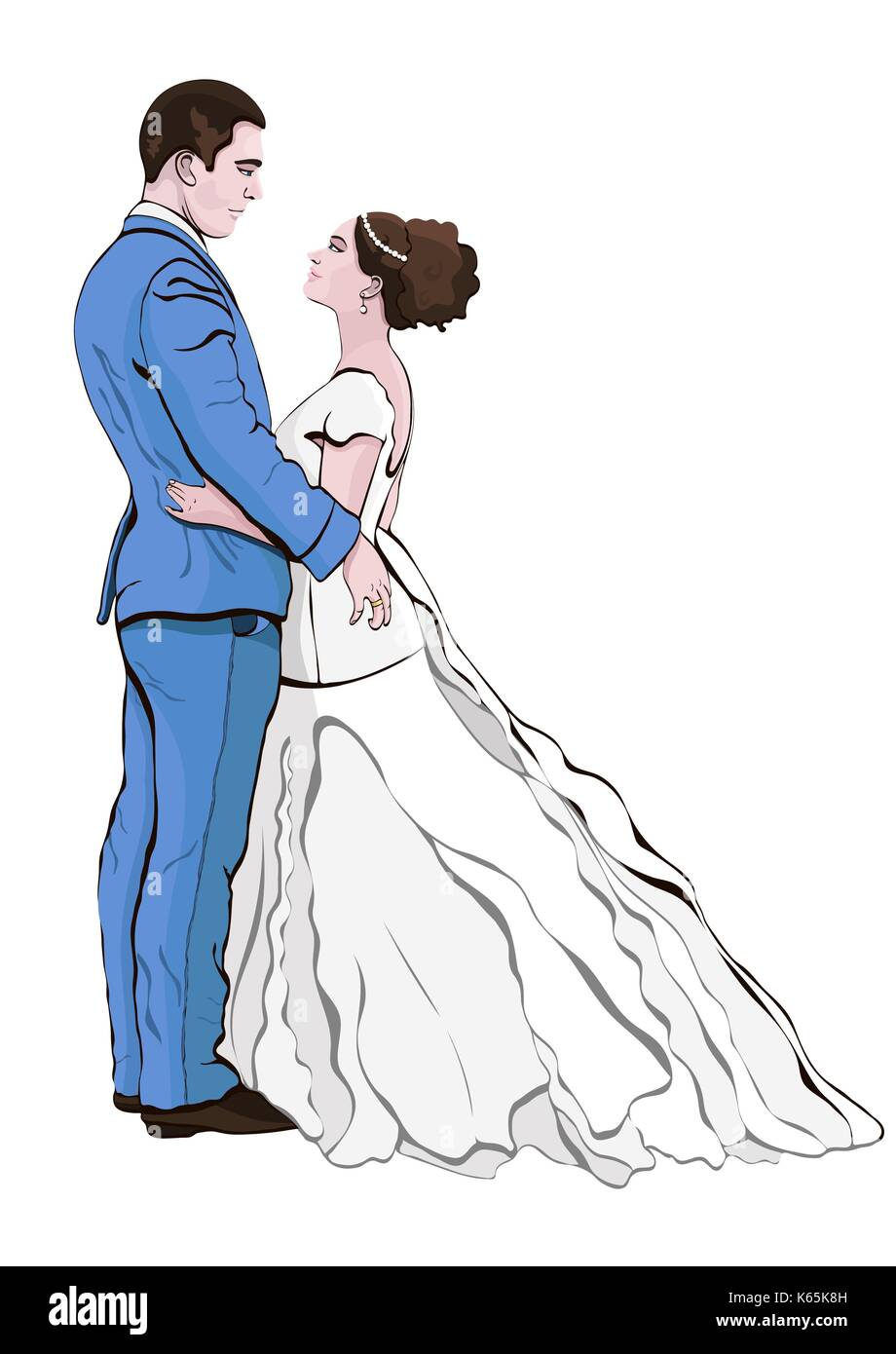 Bride and groom cartoon vector hand drawing couple in love hugging looking at each other dressed in a wedding dress and a suit isolated on white b