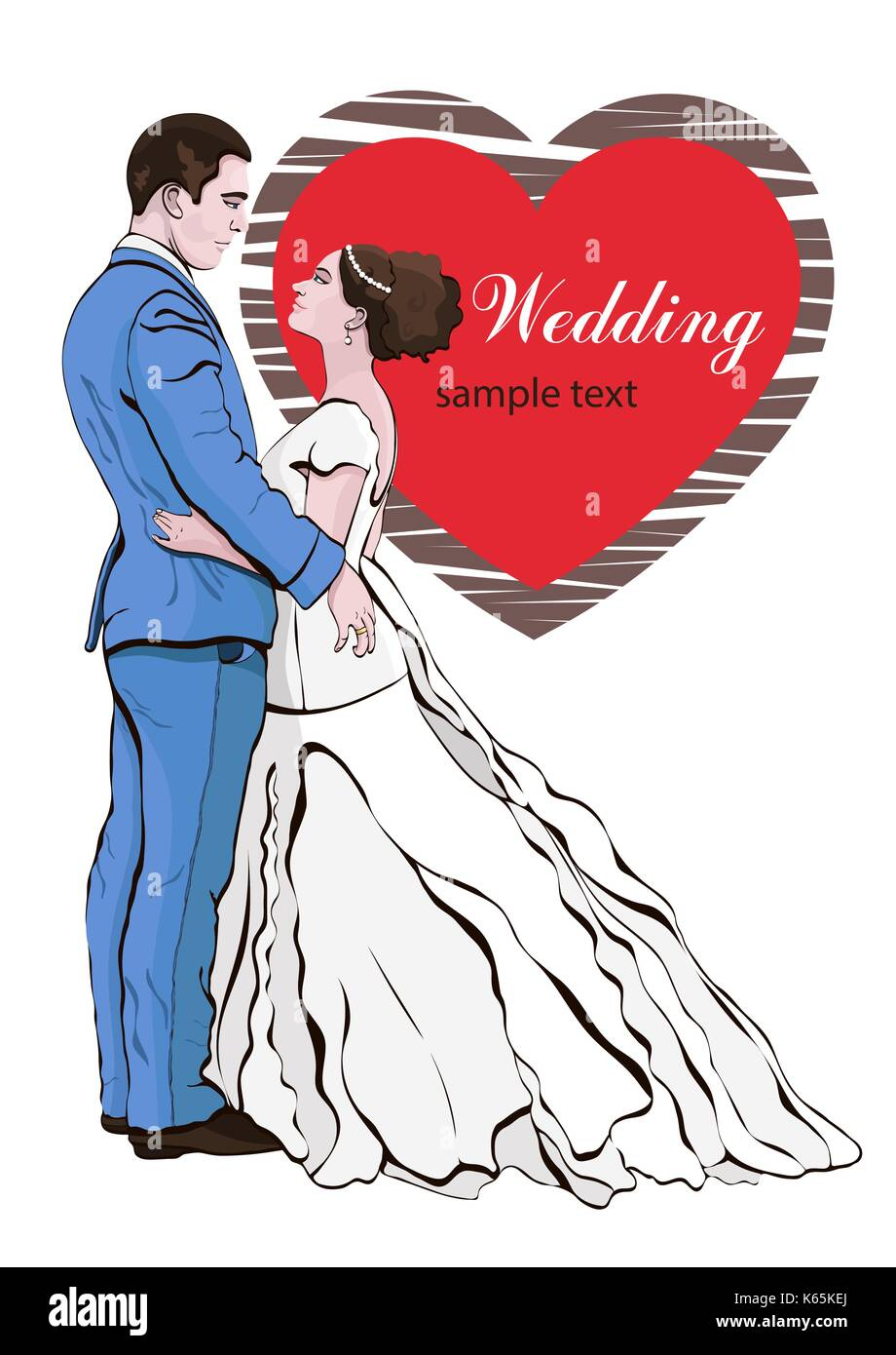 Bride and groom cartoon vector, hand drawing, wedding invitation ...